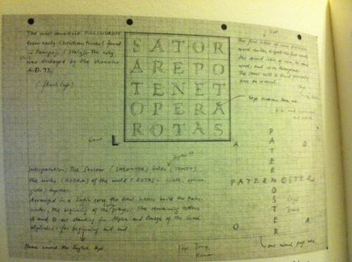 "Sketch for SATOR magic square page, Orbis Typographicus by Hermann Zapf (1990) From ""Spend your alphabets lavishly * The work of Hermann & Gudrum Zapf * Cary Graphic Arts Press RIT"""