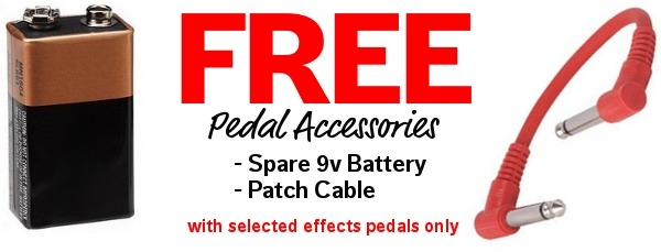Free 9v battery & patch cable with selected pedals