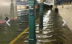 This is the New York subway That had been floated from sandy. Transpiration was suspended for days. You no when the subways don't run, it was bad.