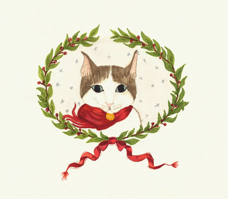 -Gato de Natal->desenho a aguarela ***- Christmas cat->watercolor drawing