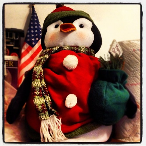 Bought this cute penguin Christmas doll at Duane Reade for dearie :) #penguin #christmas #doll #duanereade