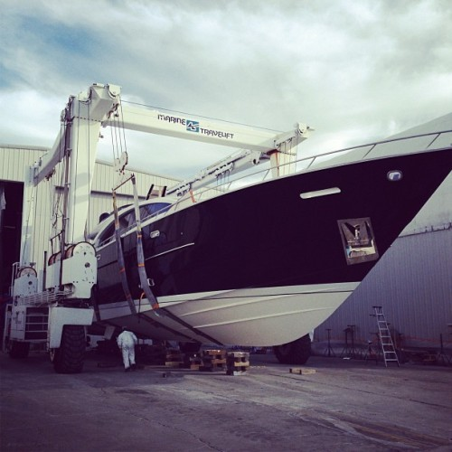 Newest LSX92 getting ready for the water.  (at Lazzara Yachts)