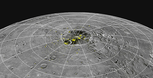 Hot Mercury May Have Ice WaterMercury, the smallest and innermost planet in our solar system, revolves around the sun in a mere 88 days, making a tight orbit that keeps the planet incredibly toasty. Surface temperatures on Mercury can reach a blistering 800 F — hot enough to liquefy lead.Now researchers from NASA, MIT, the Univ. of California at Los Angeles and elsewhere have discovered evidence that the scorching planet may harbor pockets of water ice, along with organic material, in several permanently shadowed craters near Mercury's north pole.Read more: http://www.laboratoryequipment.com/news/2012/11/hot-mercury-may-have-ice-water