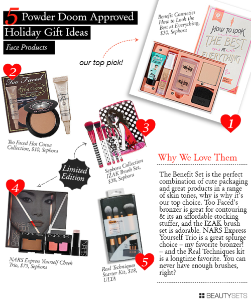 Benefit How to Look the Best at Everything, $30 Too Faced How Cocoa Collection, $10 Sephora Collection IZAK Brush Set, $38 NARS Express Yourself Cheek Trio, $75 Real Techniques Starter Kit, $18