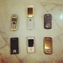 Please state their name! #old #phone #collection #oldschool #vintage #mobile #phone #ig #iger #igmy #igmalaysia #picoftheday #moodofthefay #instagood #note2 #ericsson #pantech #samsung #sonyericsson #walkman