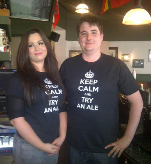 "sofapizza:  nsfwhumor:  [when pub staff t-shirts go wrong]  ""It's too early for me to start drinking, butt fuck it"""
