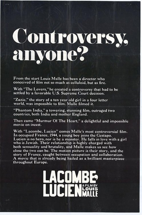 Brave marketing poster for Louis Malle's Lacombe Lucien.