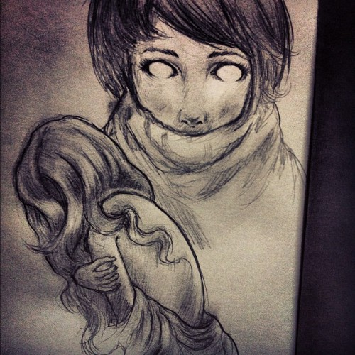 Acah acah seram.. 👻 #draw #drawing #doodle #sketch #pencil #bored #selfie #nightynite