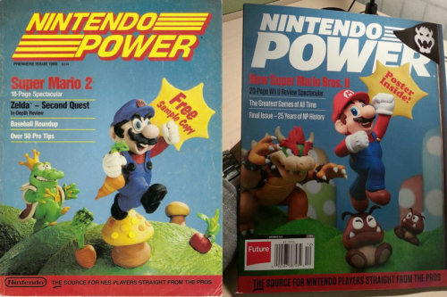 shortformblog:  thisistheverge:  Final issue of Nintendo Power's cover returns to magazine's roots Awwww  Now you're fading with power. Pretty sure I still have this issue somewhere.  Another bit of childhood goes kaput …