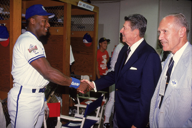 Bo Jackson shakes hands with former U.S. President Ronald Reagan after Jackson won the 1989 All-Star Game MVP award. Jackson celebrates his 50th birthday on Friday. (V.J. Lovero/SI) GALLERY: Classic Photos of Bo Jackson