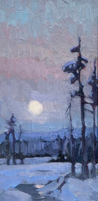 Winter Moonrise - Ken Roth Mockingbird  |  Exquisite art, 500 days a year.  |