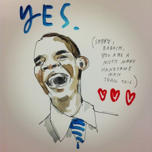 tortoisebelly:  Great real-time election night drawings by Wendy McNaught. NPR invited her to their DC headquarters to draw their coverage as it was happening.