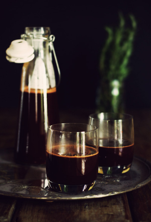 mulled wine hot chocolate [via] makes: shitloads to lull your loved ones to sleep on the lounge floor. ingredients 500ml water 400g caster sugar 100g cocoa powder 2 cinnamon sticks 4 star anise 8 cloves 250g dark chocolate [about 70%], chopped 2 clementines, halved and thickly sliced [substitute with orange] 1 sprig of rosemary 1 x 750ml bottle of red wine [your choice] method place the water, sugar, cocoa, spices and chocolate in a pan and bring to a simmer. remove from heat and whisk until it chocolate has melted and everything's incorporated. add clementines and rosemary and leave to infuse for 10 minutes. add the red wine and warm through gently. serve warm. [not hot]