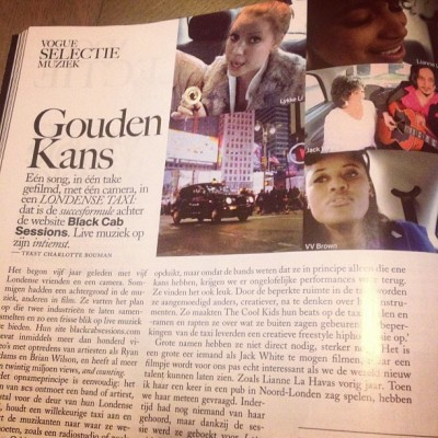 In Amsterdam. Just picked up a copy of Dutch Vogue, as you do. AND THERE'S A FULL PAGE SPREAD ON BCS! What are the chances…?