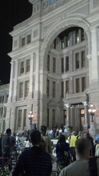 Photo of Bike Rally in Austin Tx at State Capitol for Safer Roads
