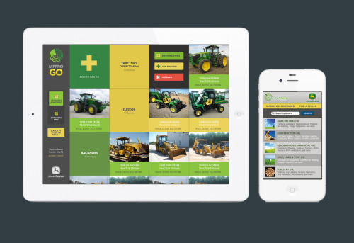 tiderise:   The John Deere Machinefinder Mobile Web App and MFPRO GO iPad App.