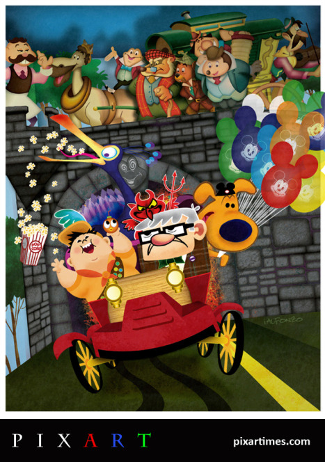 New Artwork Features UP Characters On Mr. Toad's Wild Ride At Disney World. Read more about artist Ignacio Alfonzo!