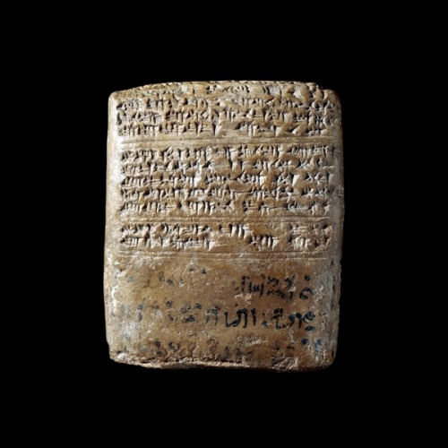 ancientpeoples:  Letter from Tushratta to Amenhotep III Mitannian, about 1370-1350 BCFrom Tell el-Amarna, Egypt This clay tablet is part of a collection of 382 cuneiform documents discovered in 1887 in Egypt, at the site of Tell el-Amarna. They are mainly letters spanning a fifteen- to thirty-year period. The first dates to around year 30 of the reign of Amenhotep III (1390-1352 BC), and the last to no later than the first year of the reign of Tutankhamun (1336-1327 BC). The majority date to the reign of Amenhotep IV (Akhenaten) (1352-1336 BC), the heretic pharaoh who founded a new capital at Tell el-Amarna. This letter is written in Akkadian, the diplomatic language of Mesopotamia at the time. It is addressed to Amenhotep III from Tushratta, king of Mitanni (centred in modern Syria). Tushratta calls the pharaoh his 'brother', with the suggestion that they are of equal rank. The letter starts with greetings to various members of the royal house including Tushratta's daughter Tadu-Heba, who had become one of Amenhotep's many brides. Diplomatic marriages were the standard way in which countries formed alliances with Egypt. Tushratta goes on to inform Amenhotep that, with the consent of the goddess Ishtar, he has sent a statue of her to Egypt. He hopes that the goddess will be held in great honour in Egypt and that the statue may be sent back safely to Mitanni. Three lines of Egyptian, written in black ink, have been added, presumably when the letter arrived in Egypt. The addition includes the date 'Year 36' of the king. (Source: The British Museum)