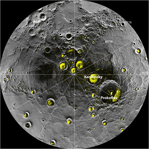 "Mercury's Water Ice Bodes Well for Alien Life Search     The discovery of huge amounts of water ice and possible organic compounds on the heat-blasted planet Mercury suggests that the raw materials necessary for life as we know it may be common throughout the solar system, researchers say.      Image: The radar image of Mercury's north polar region from Image 2.1 is shown superposed on a mosaic of MESSENGER images of the same area. All of the larger polar deposits are located on the floors or walls of impact craters. Deposits farther from the pole are seen to be concentrated on the north-facing sides of craters. Image released Nov. 28, 2012. Credit: NASA/Johns Hopkins University Applied Physics Laboratory/Carnegie Institution of Washington/National Astronomy and Ionosphere Center, Arecibo Observatory       Mercury likely harbors between 100 billion and 1 trillion metric tons of water ice in permanently shadowed areas near its poles, scientists analyzing data from NASA's Messenger spacecraft announced Thursday (Nov. 29).      Life on sun-scorched Mercury remains an extreme longshot, the researchers stressed, but the new results should still put a spring in the step of astrobiologists around the world.      ""The more we examine the solar system, the more we realize it's a soggy place,"" Jim Green, the director of NASA's Planetary Science Division, said during a press conference today.      ""And that's really quite exciting, because that means the amount of water that we have here on Earth — that was not only inherent when it was originally formed but probably brought here — that water and other volatiles were brought to many other places in the solar system,"" Green added. ""So it really bodes well for us to continue on the exploration, following the water and its signs throughout the solar system."""
