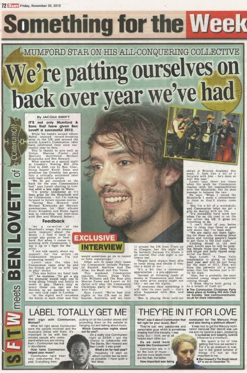 Ben Lovett was interviewed by Communion in The Sun today! Read the full article here.