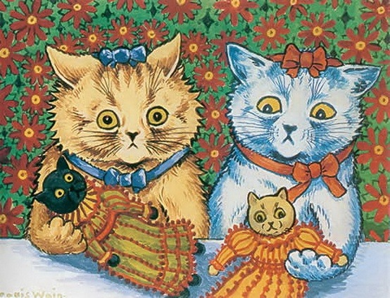 kittehkats:  Cats with Cat Dolls by Louis Wain