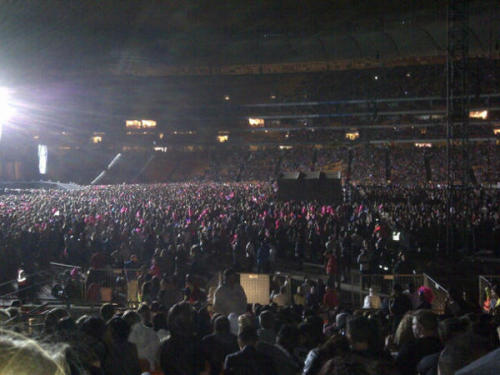 ladyxgaga:  Soccer City Stadium in Johannesburg, South Africa is the 14th largest stadium in the world. Tonight, Lady Gaga will play to a sold out crowd, making her not only the youngest artist to perform at the venue, but also the only female and only popstar. This is easily one of the biggest, most important shows of her career, and we couldn't be more proud. Look above and check out some amazing photos of the crowd from before the show started a li'l while ago.  Crying because my baby. ;-;
