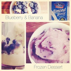 Quick and tasty sweet treat. Frozen Bananas + Frozen Blueberries + Almond Milk #yum #tasty