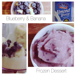 Frozen Bananas + Frozen Blueberries + Almond Milk = Quick & Tasty Sweet Treat