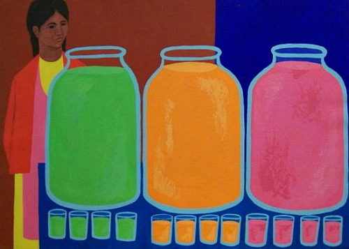Judith Shahn  Woman with Three Juice Jars 1973