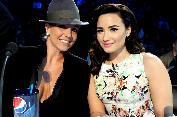 November 29: Britney Spears and Demi Lovato poses at FOX's 'The X Factor' Season 2 Top 8 to 6 Live Elimination Show in Hollywood, California. #rozOonTheGo