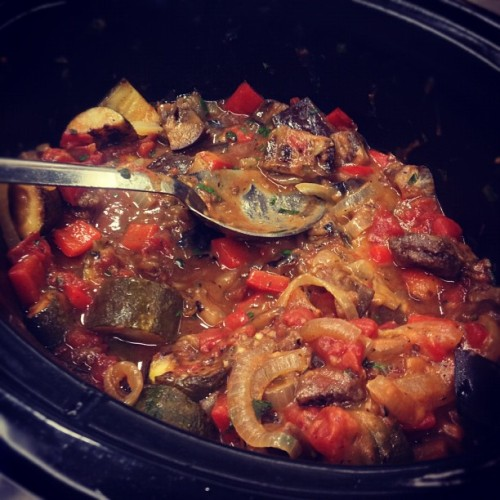 This afternoon in the Test Kitchen, we're tasting a big batch of slow cooker Ratatouille. (A live Instagram snapshot from the Test Kitchen. http://instagr.am/p/Squgz2rkYp/)