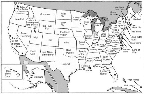 A map of the United States with each state's name replaced with its etymological root translated into English.