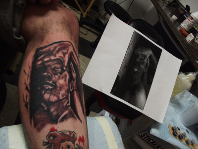 "Tattoo of a still from the ""gypsy kids"" video by narrows done by jakegein.tumblr.com of ancient ink tattoo in crown point indiana"