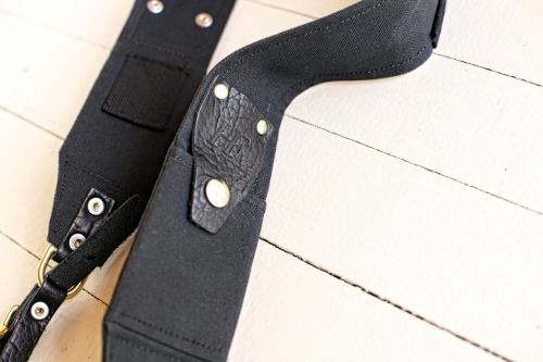 The RuckStrap in black with American Bison leather accents NOW AVAILABLE at the store!  Buy Now