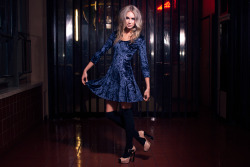 Blue Moon Velvet Skater Dress