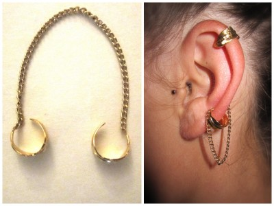 truebluemeandyou:  DIY Feather Charms and Chain Ear Cuff Tutorial from Prudence and Austere here. This project is another really easy one.