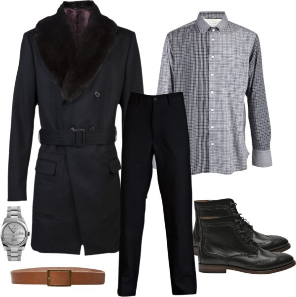 Male Holiday by amrag featuring boots  Boots / Vivienne Westwood Luxury Coat / Engineered Garments Cinch Straight Trouser / Rag & Bone Button Oxford / Comune Manchester Belt / Stampd' LA Online Store Stampd Rolex