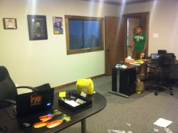 The Explosm HQ in Dallas. A work in progress (still decorating), but we're getting there. Featuring a cameo from our multi-talented merchandise fella, Andy!