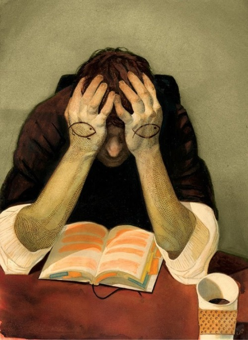 Introspection reader / Ensimismamiento lector (ilustración de Sterling Hundley)