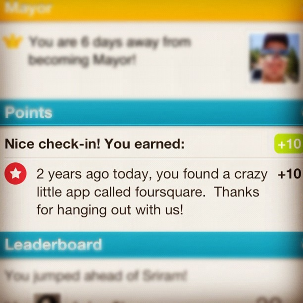 "Foursquare - Shows a ""thank you"" message on your join-date anniversary. /via Gaurav Sharma"