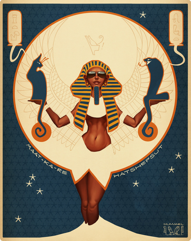 shoomlah:  My Hatshepsut piece for the upcoming GIRLS: Fact + Fiction show, opening December 7th at the Light Grey Art Lab gallery space in Minneapolis, MN! We were invited to draw any fictional or factual lady of our choice, so I went with Hatshepsut because, well, she's Hatshepsut. If I am to believe all of those ancient statues of her, she looks damn fine in a pair of aviators. I'm not going to be able to make the opening myself, but you can check out the invite for the show over on facebook if you're so inclined and/or local. :) PRINTS AND ART BOOKAlso worth mentioning is that the people behind Light Grey Art Lab have already set up an online store for the show! You can pick up prints of all the art, along with a limited edition art book collecting all of the pieces in the show with short blurbs about each of the featured ladies. You can pick up a print of my piece HERE, and grab the art book HERE. Go forth and look at all the pretty art! -C