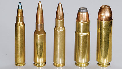Choices… 4 different and distinct calibers from left to right; .223, 6.5 Grendel, 6.8 SPC, .458 SOCOM and .50 Beowulf.  Someone should make a lever action in .458 or .50 Beowulf.