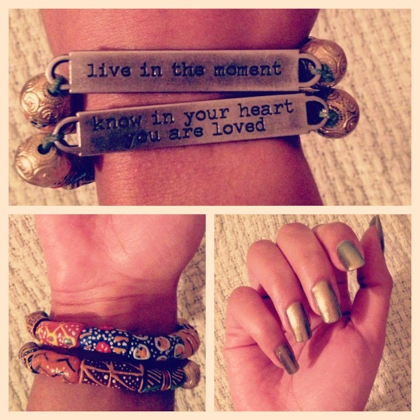 "The front and back of my new favorite Quelly Rue Design quote bracelets ($12 each). Helpful to read some positivity on a daily basis. And can we talk about the fact I cut down my claws 6 weeks ago and they're back? Unrefined extra virgin coconut oil under your base coat when painting your nails. And a weekly (or daily) massage with the oil, too. Hydration = growth. Crazy how well that method works. A lot of you have tagged me to your claws so I'm glad everyone is trying it! (""Just Spotted The Lizard"" polish by OPI)"
