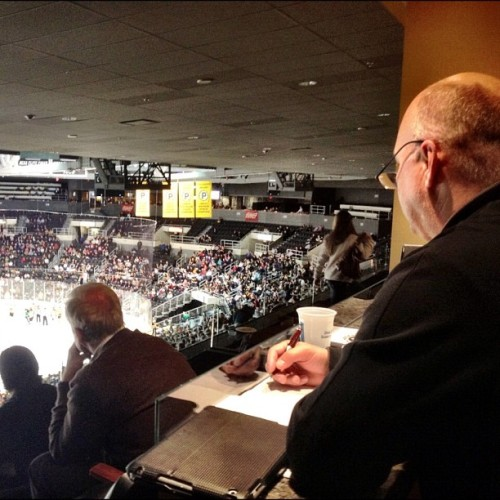 Coach Julien taking in the #PBruins game tonight vs CT Whale with his coaching staff. #Bruins