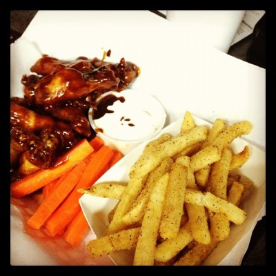 #yummy#wings#fries#longwongs#carrots#honeybbq#ranch#delicious#food#instagood#instagood#instafood#igers