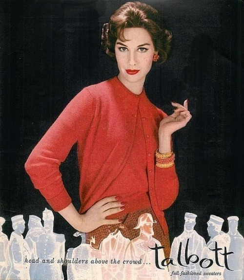 theniftyfifties:  She's head and shoulders above the crowd in her Talbott twinset!