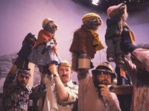 A behind the scenes photograph of Jerry, Frank, Jim, and Dave on Emmet Otter's Jug Band Christmas.