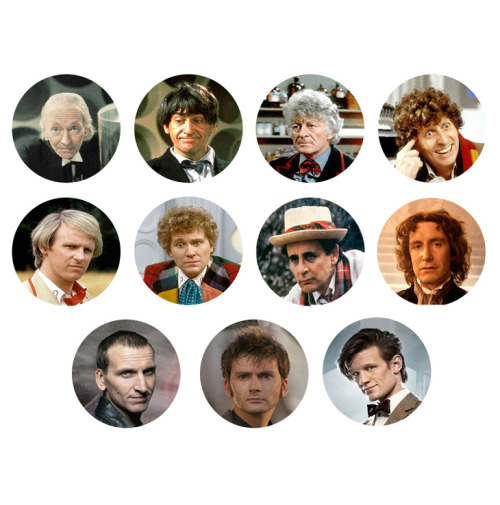 DOCTOR WHO Eleven Drs Set of 11 - 1 Inch Pinback Buttons Pins Badges - $4.99 http://www.etsy.com/shop/ButtonsMagnetsMore