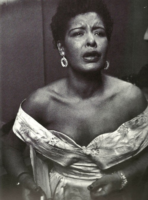 missjazzage:  Billie Holiday backstage at Carnegie Hall.