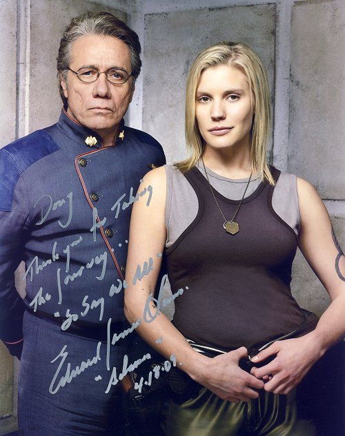 Adama & Starbuck buddy shot, signed by Edward James Olmos.  Still needs to be signed by Katee Sackhoff, someday!